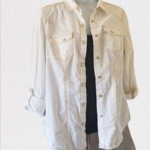 Canyon River Blues White button up shirt, sz S
